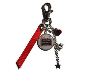 "Keychain - gift teacher bag charm ""best teacher 10/10"" - end of year gift"