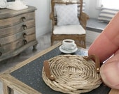 Miniature wicker tray with leather handles - rustic  - Dollhouse - Diorama - Roombox - 1:12 scale