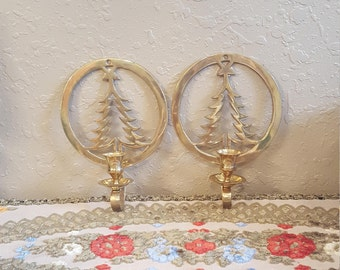 Set of 2 vintage brass Christmas tree wall sconces.  Eclectic Christmas decor.  Hosley brass.