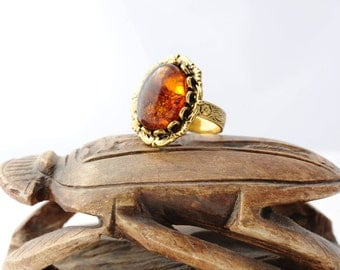 Statement Ring Amber Jewelry Adjustable Ring Amber Ring Amber Gold Ring Gemstone Ring Antique Gold Ring Bohemian Jewelry Oval Gemstone Ring