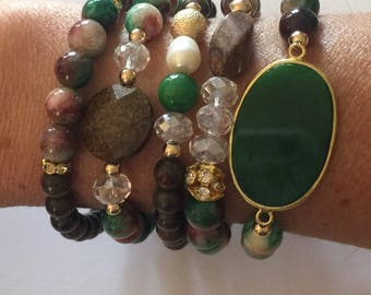 Bead Bracelet Stack Set/Green and Brown Agate/Freshwater Pearl/Crystals