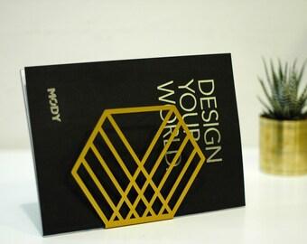 Gold napkin holder,  office decor gift, office decor gold, geometric decor, magazine holder, organized decor, metal rack, mail holder