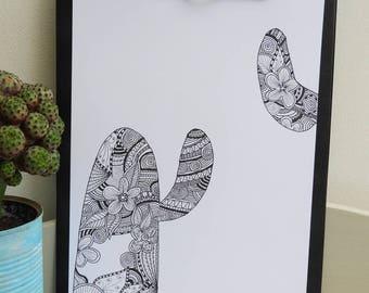 Poster illustration, zentangle - black and white cactus - Scandinavian poster - deco Scandinavian