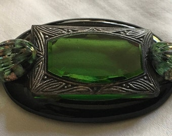 Green Glass Brooch; possibly made from antique glass button.