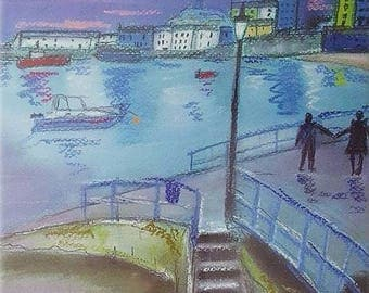 A romantic Stroll Tenby Harbour Pembrokeshire Giclee Pastel Print Landscape Welsh Art Summer Gift Home decor love Wall Art Painting Wales