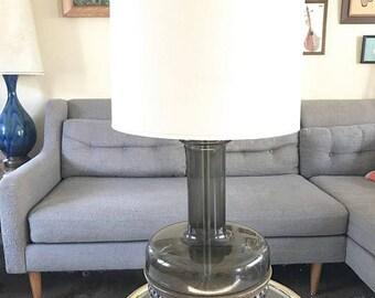 Vintage Smoked Glass Lamp