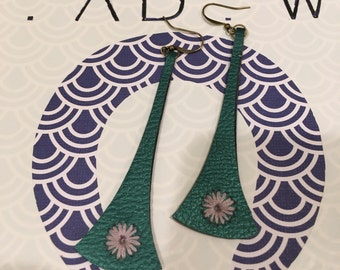 Embroidered Faux Leather Earrings