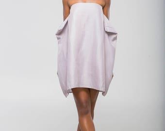 Linen Dress Grey, Handmade, Strapless, Teddy Dress, Made in Trinidad and Tobago