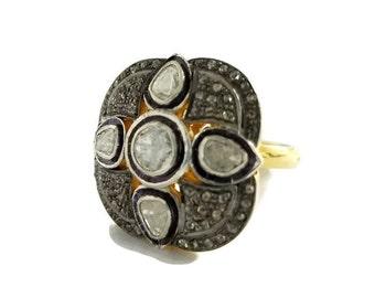 Polki Diamond Ring in Silver, Statement Ring, Victorian Ring, Polki Ring, Polki Jewelry, Pave Diamond Ring, Rose Cut Ring, Christmas/F-793