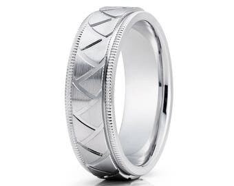 Unique Gold Wedding Band 14k White Gold Wedding Ring Anniversary Band Men & Women Gold Wedding Ring Grove Gold Ring Comfort Fit