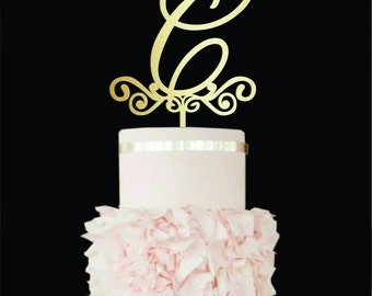 Wedding Cake Topper Letter C cake topper Gold Monogram Cake Topper K Initial cake topper Wood Cake Topper A E C B Custom Wedding Cake Decor
