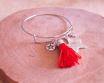Adjustable Bangle, tassels and grey-gri
