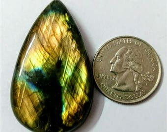 47.30 x 28.30 mm,Pear Shape/Tear Drop Labradorite Cobochon/Golden Flash/wire wrap stone/Super Shiny/Pendant Cabochon/Semi Precious Gemstone
