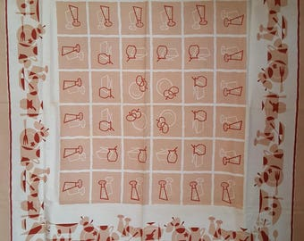 Vintage Tablecloth With MCM Stylized Design
