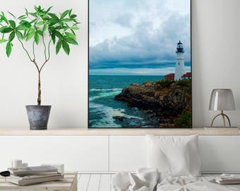 SALE 20% OFF! Lighthouse Print Lighthouse Wall Art Modern Lighthouse Poster Modern Beach Decor Printable Digital Print
