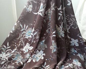 1yd (0.91m) of Chiffon print fabric-Brown with floral pattern - 150cm(59inch) Wide,RL_C006