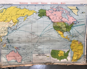 Us Vintage Map With Dowel Lay The Map On The Unrolled Shade - Us vintage map with dowel