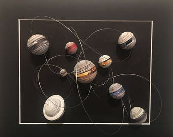 "3D Recycled Abstract Solar System - Quilling Wall Art -  1/8"" (3mm) recycled magazines paper strips."