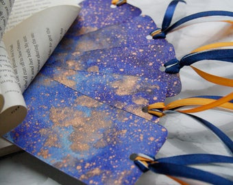 Ravenclaw Galaxy Bookmark, Hogwarts House Pride Book Merch, Bookish Planner Accessory, Harry Potter Merchandise, Watercolor Bookmark