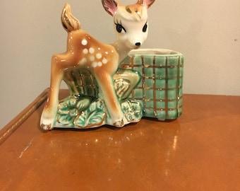 Vintage Shafer 23k gold deer planter