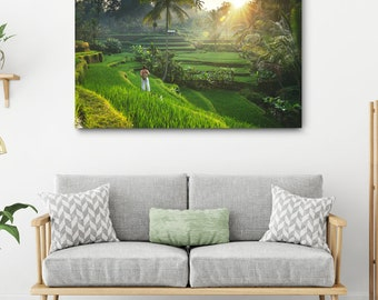 Bali Travel Photography // Ubud Large Canvas Print, Green Rice Terrace Photo, Asia Decor, Asian Jungle Wall Art, Indonesia Landscape Picture