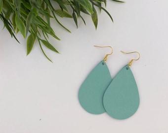 TIFFANY BLUE Leather Teardrop Earrings, Leather Earrings, Statement Earrings, Accessories, Jewelry