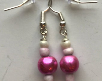 Pink and White Beaded Drop Earrings, Pink White Beaded Earrings, Pink White Drop Earrings, White Pink earrings, Pink White Earrings