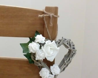 Heart Flower Wreath Pew Decoration Rustic Wicker Door Pew Hanger Chair Decorations Wedding Decorations Home Decor