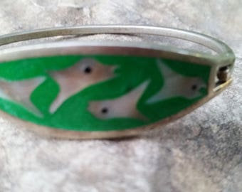 Vintage Mexican Alpaca Silver Green Enamel Mother of Pearl Fish Inlay Hinge Bracelet Made in Mexico.