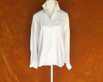 Vintage 1980s Creme Silk Blouse