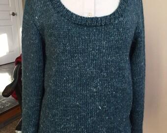 Scoop Neck Pull Over Sweater  Rowan Hemp Tweed