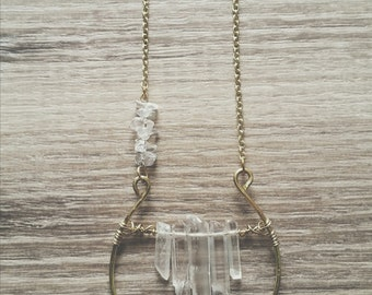 Crystal and Brass Wire Necklace