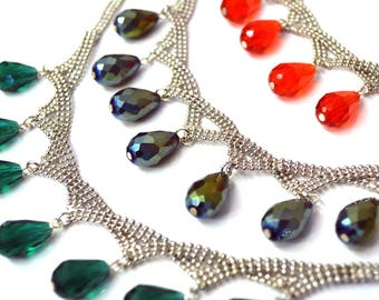 Grace Crystal and Silver Mesh Special Edition Adjustable Drop Necklace in multiple colors,hand beaded, limited edition,holiday gifts for her