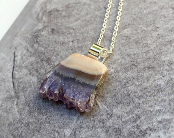 Amethyst Pendant / Amethyst Polished Natural Stone Pendant / Amethyst Slice Necklace / Natural Polished Stone Necklace