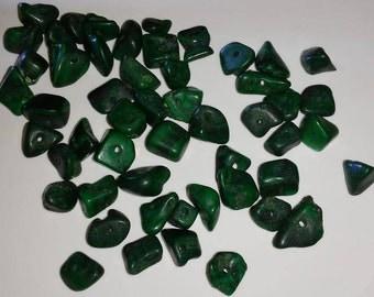 50 Malachite Chip Beads green black gemstone