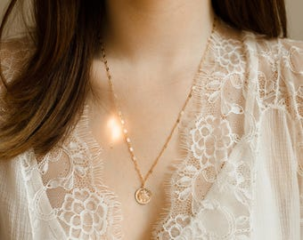 Mother Medallion Necklace- 14k gold filled Mary pendant necklace