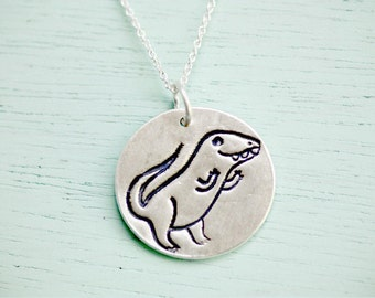 DINOSAUR NECKLACE, sterling silver dinosaur jewelry, dinosaur gifts, quirky gifts for friends, t.rex necklace, natural history jewelry, Trex