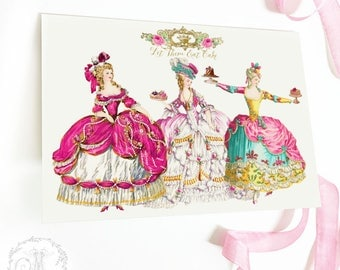 Marie Antoinette, Let them eat cake card, invitations, instant digital download, personal, commercial use, 5x7, 6x4
