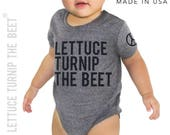 lettuce turnip the beet ® trademark brand OFFICIAL SITE - gray heather bodysuit - seen in Pregnancy and Newborn magazine - funny baby gift