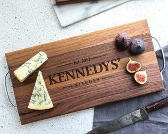 Anniversary Gift for Parents - Large Personalized Family Name Cheese Board - HB2