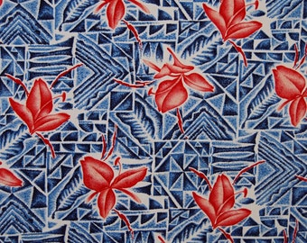 Vintage fabric made in Japan Hawaiian fabric 35 inch wide 1930s 1940s Nittobo Sanforized fabric vintage