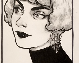 "Original Ink Drawing ""Endora"" by Amy Abshier"