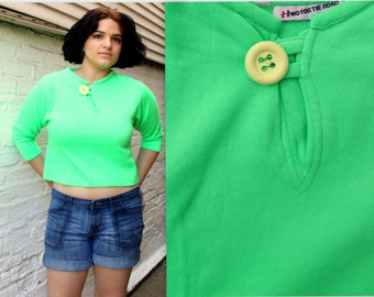 1960's Lime Green Knit Crop Top with Big Yellow Button . Size Medium . Soft Cozy Cute . 60s Retro Activewear sport