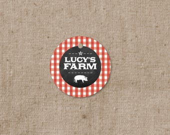 Simple Farm Theme Favor Tags - Thank you tags - Red Gingham Gift Tags - Bridal Shower Tags - Chalkboard - Farm Animal Rooster