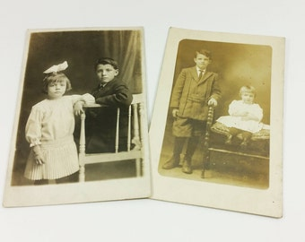 Brother and Sister Photographs, Edwardian Children at Different Ages, 2 Photo Postcards
