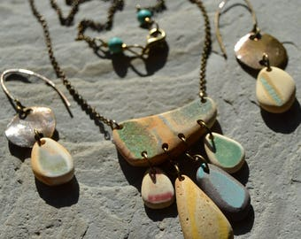California Beach Sea Pottery Necklace and Earrings