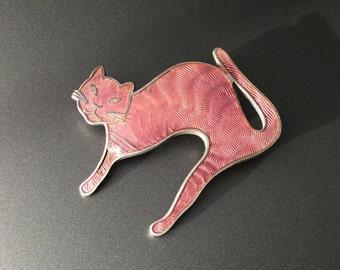 Vintage Sterling Silver Scared Cat Guilloche Enamel Brooch
