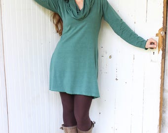 Organic Super Cowl Tunic - Long Sleeve - Organic Cotton Blend - Choose Your Color - Made to Order - Eco Fashion - Organic Women's Clothing