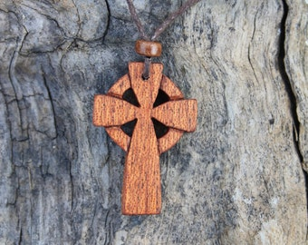 Hand-carved Celtic Wooden Cross Pendant, Handmade In Ireland, Mahogany Irish Celtic Cross For Men On Brown Adjustable Cord, Irish Made Gift