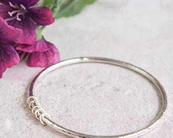 Milestone Silver Bangle with gold rings 30th, 40th, 50th, 60th birthday Hallmarked